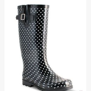Black RainBoots with White PolkaDots